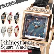 ラインストーン付きスクエアウォッチ 腕時計 FV22