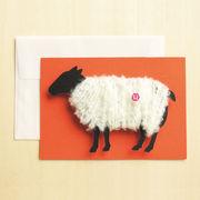ひつじといえば毛刈り♪毛糸をほどくとメッセージが!羊の毛刈りメッセージカード【黒ひつじ×オレンジ】
