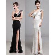 肩紐スパンコール装飾ワンショルダーデザインレースローンぐドレス