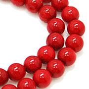 天然石 ビーズライン 卸売  /シーバンブー・海竹珊瑚 赤色・レッド 丸玉ビーズ 6mm