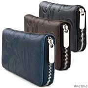 【ラウンドファスナー長財布】草文様型押しPU財布 シンプル レザー調 ボタニカル