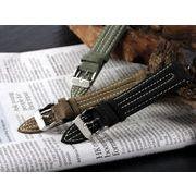 【腕時計 交換用ベルト】本革カーフヌバックレザー・替えベルト[20mm・22mm×3色] PLCN2B35