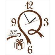 HARRY CLOCK ウォールステッカー 時計付き 転写式 リボンデザインの壁時計 (ribbon walll clock) ブラウン