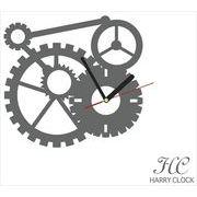 HARRY CLOCK ウォールステッカー 時計付き 貼ってはがせる 転写式 mechanism (からくり) グレー
