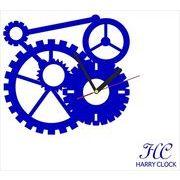 HARRY CLOCK ウォールステッカー 時計付き 貼ってはがせる 転写式 mechanism (からくり) ネイビーブルー