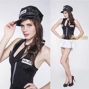 【即日出荷】黒白 手錠 帽子 婦人警官 婦警 ポリス コスプレ衣装 【5546/5】