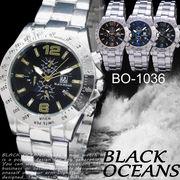 【選べるケース有or無】  腕時計 デザインクロノグラフ シルバー メタルバンド ウォッチ◇BO-1036