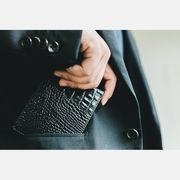 ~淡雅~クロコダイル型押し二つ折り財布Black