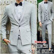 フォーマルメンズ スリムスーツ/3ピーススーツ/1ボタン/パーティー結婚式二次会大きいサイズ