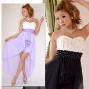 0332胸元バラモチーフビジュー装飾ミニINシフォンロングドレス