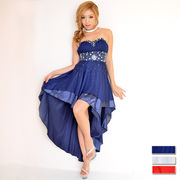 0035☆胸元ビジュー付き切り替えバック編上げロングドレス パーティードレス フォーマル キャバドレス