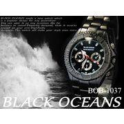 ケースあり&なしOK☆BLACK OCEAN★メタル ブラック デザインクロノグラフ メンズ 腕時計☆BOB-1037