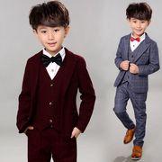 秋/長袖スーツ/男の子/子供服/90~140cm/3点セット/チェック柄/結婚式