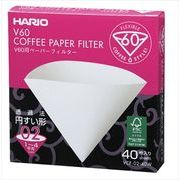 HARIO V60用ペーパーフィルター酵素漂白02箱 1~4杯用・40枚入 (02箱)
