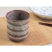 【湯呑みの王道を極める】 和陶器らしい釉薬の色あそび たっぷり湯呑み 赤