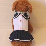 ガールズセーラーワンピース(ネイビーxホワイト)(S~XL)ドッグウェア 犬の服【ルイスペット】