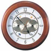 《日本製》【お天気予測・温湿度計付き掛け時計】メロディ気象台・グランデ