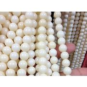 天然石 ビーズライン 卸売/コーラル シーバンブー 丸玉ビーズ 白色(white coral) つや有