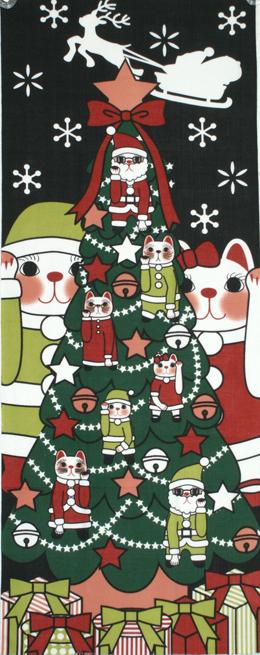 福まねき猫_クリスマス 日本手ぬぐい
