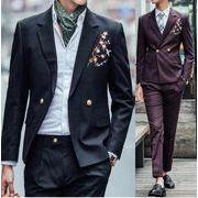 ダブルスーツスーツ ジャケット+パンツ メンズ ビジネス 結婚式 おしゃれ スリム 花柄刺繍