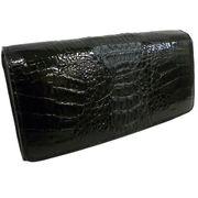 Santa Maria サンタマリア製 クロコダイルレディース カイマン ワニ革 背鰐HB長財布A38(ブラック)