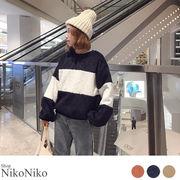 冬新作 太ボーダートップス【即納】トップス オーバーサイズ ゆったり 袖 レディース
