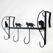4連ドアハンガー ネコ(ブラック)