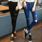 【大きいサイズL-4XL】【秋冬新作】ファッションジーンズ♪ブラック/ブルー2色展開◆
