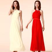 大きいサイズ ビジュー付きロングドレス 結婚式、パーティードレス 演奏会 発表会 優雅 F/2L/3L/4L 9959
