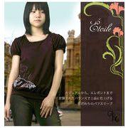 バイリンガル気品あふれる刺繍模様のパブスリーブニットTシャツ (JPBt)130-170cm