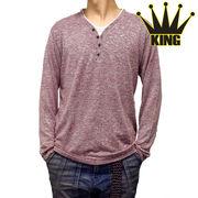 大きいサイズ【2017春夏】ニットソー フェイク 4つボタン Yヘンリー Tシャツ