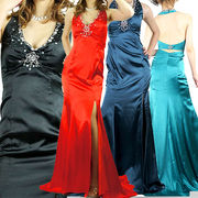 エレガントで艶やか豪華サテン 胸元ビジュ ホルターネック ロングドレス