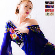0551Aフラワーシフォンロング着物ドレス 和柄 衣装 ダンス よさこい 花魁 コスプレ キャバドレス