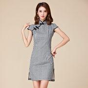 大きいサイズ 裾スリットのチェック柄ミニドレス チャイナドレス パーティードレス M/L/2L/3L/4L 9879