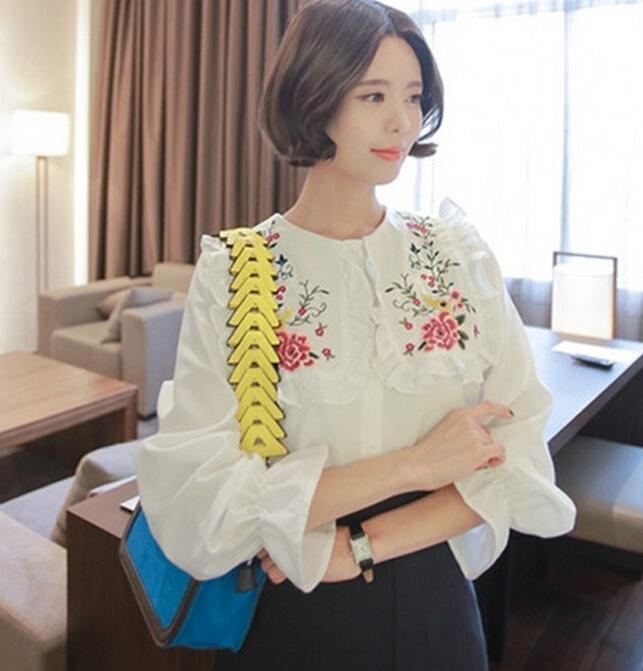 刺繍長袖ブラウス コットンフリル丸首 綿系フラワーブラウス 韓国ファッション ジェディワイドカラー