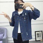 【大きいサイズ M~XL】 ダメージ Gジャン レディース ジージャン デニムジャケット アウター