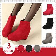【即納】ウエッジソールショートブーツ全3色★qqyjna1-176【自社工場】靴/美脚/レディース