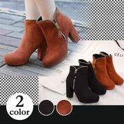 【即納】飾りファスナーショートブーツ全2色♪qce2-031-7【自社工場】靴/美脚/レディース