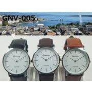 ★日本製ムーブ使用★電池寿命3年以上★ GENEVAユニセックス腕時計 レザーベルト