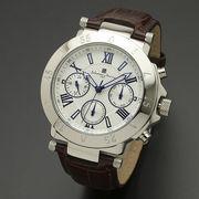正規品Salvatore Marra腕時計サルバトーレマーラ SM14118S-SSWH 10気圧多軸クォーツ 革ベルト メンズ腕時計