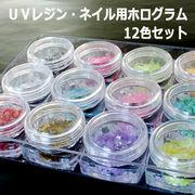 【乱切りホログラム】 1ケース12色入り  UVレジン用/アクセサリー/ハンドメイド素材/ネイル用