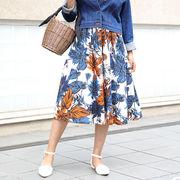 【2017春夏新作】ボタニカルフラワーミディフレアスカート