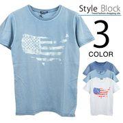 カットデニムプリントクルーネックTシャツ/sb-255655