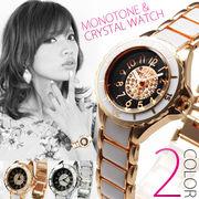 【バージョンUP仕様】★クリスタル&モノトーンスタイル腕時計【保証書付】