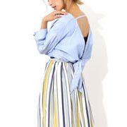 【2017春夏新作】BACKリボンデザインシャツ インナーベアSET/トップス/背中開き