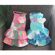 日本製高品質ペットウェア 犬服 犬用ハワイアンアロハワンピース(ピンク・ブルー) SS/S/M/MDM/L