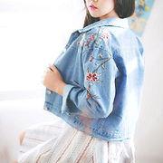 【アウトレット】花柄 刺繍 デニムジャケット