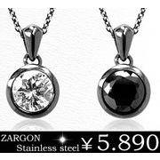 【ZARGON】ザルゴンダイヤモンドCZステンレスネックレス/ステンレスアクセサリー