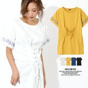【春夏SALE】袖ライン刺繍コルセットワンピース