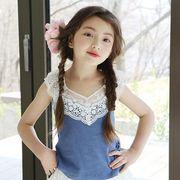 女の子 可愛い レースタンクトップ フリル 切り替え裾 ノースリーブ プリンセス トップス キッズ 全2色